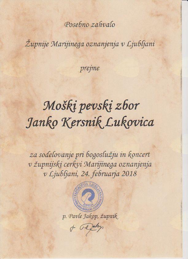 MoPZ Janko Kersnik in violinistka Klara nastopili na predvečer 2. obletnice smrti Janeza Močnika v cerkvi MO v Ljubljani