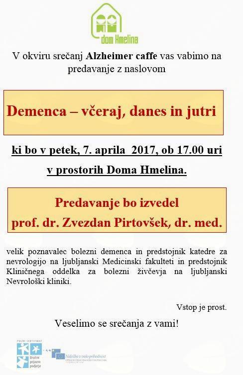 Alzheimer cafe s  prof. dr. ZVEZDANOM PIRTOVŠKOM, dr. med.