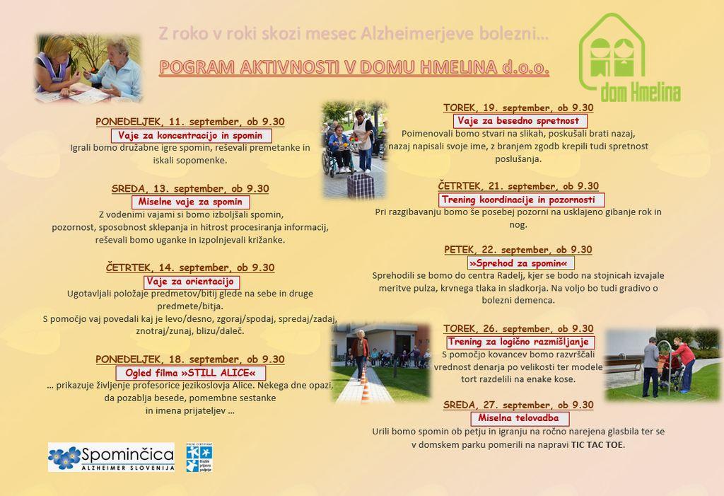 Program aktivnosti v mesecu septembru - Svetovnem mesecu Alzheimerjeve bolezni