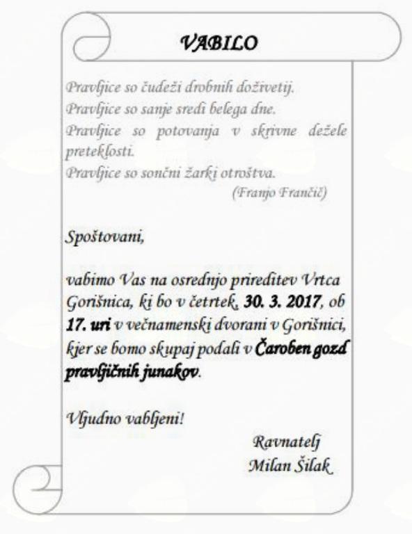 Osrednja prireditev vrtca Gorišnica