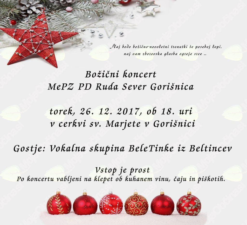 Božični koncert MePZ PD Ruda Sever Gorišnica
