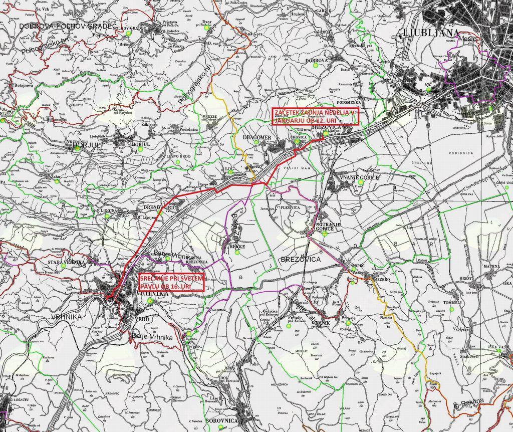 Zemljevifd poti na Vrhniko