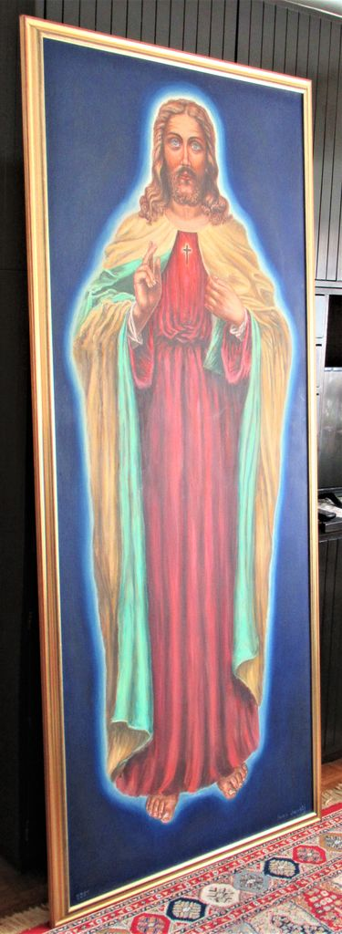 Jezus v naravni velikosti, ki ga je naslikal Ivan in podaril župniji Brezovica