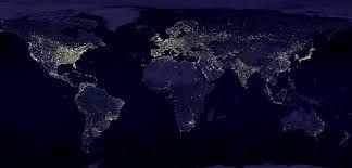 Slika svetlobnega onesnaženja na celotni zemeljski površini