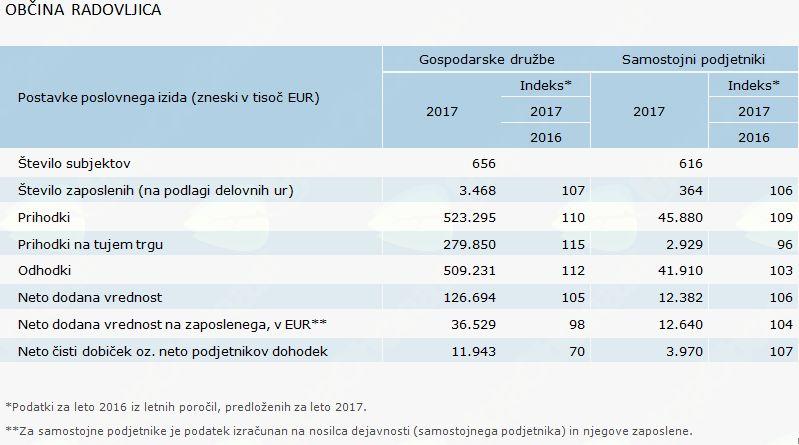 Poslovanje poslovnih subjektov v letu 2017