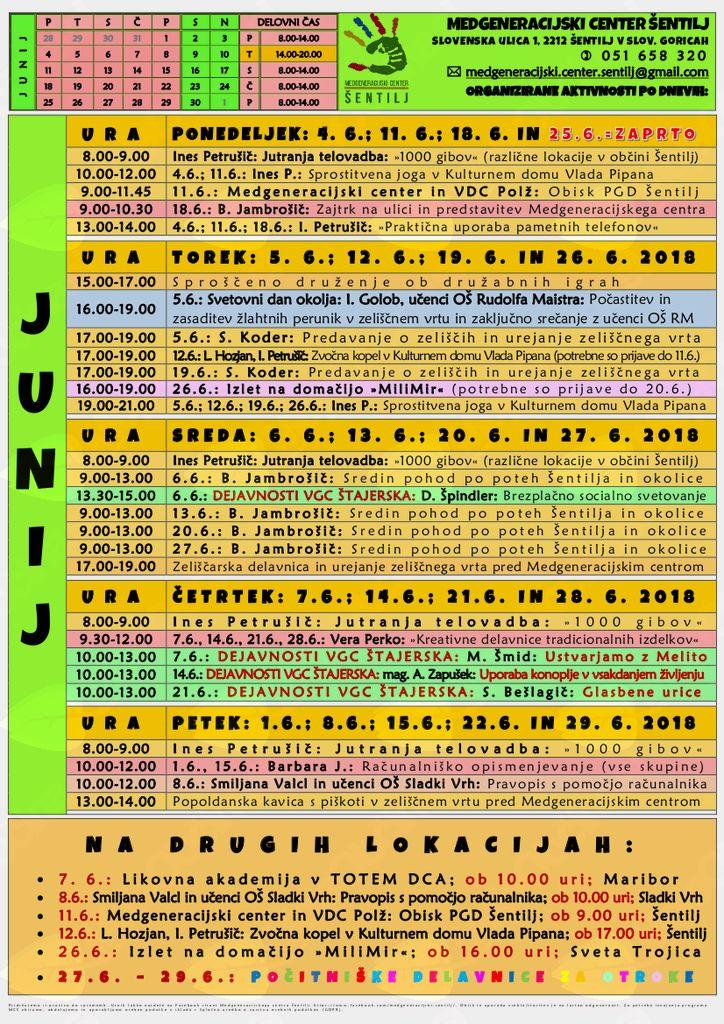 Urnik Medgeneracijskega centra Šentilj za mesec JUNIJ