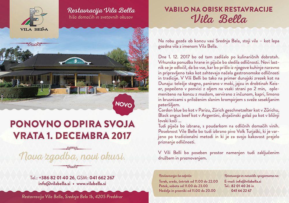 Restavracija Vila Bella znova odpira svoja vrata