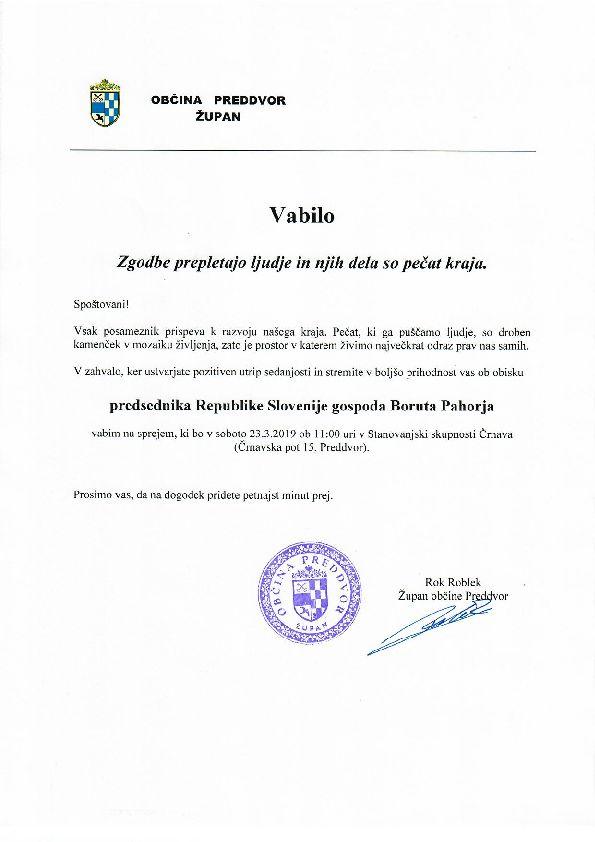 Vabljeni na sprejem predsednika države Boruta Pahorja v Preddvoru