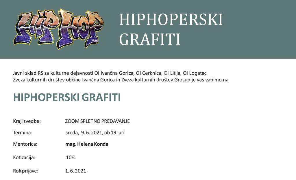 HIPHOPERSKI GRAFITI z mag..Heleno Konda, spletno predavanje