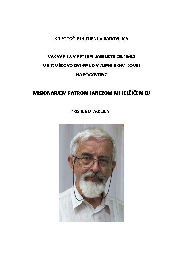 Pogovor z misionarjem patrom Janezom Mihelčičem DJ
