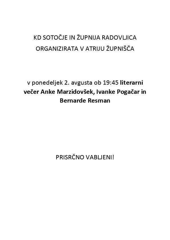 Literarni večer Anke Marzidovšek, Ivanke Pogačar in Bernarde Resman