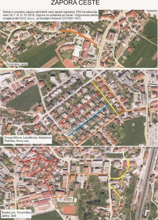 Delna in popolna zapora občinskih cest zaradi izgradnje TKK kanalizacije med 26. 7. 2018 in 31. 10. 2018