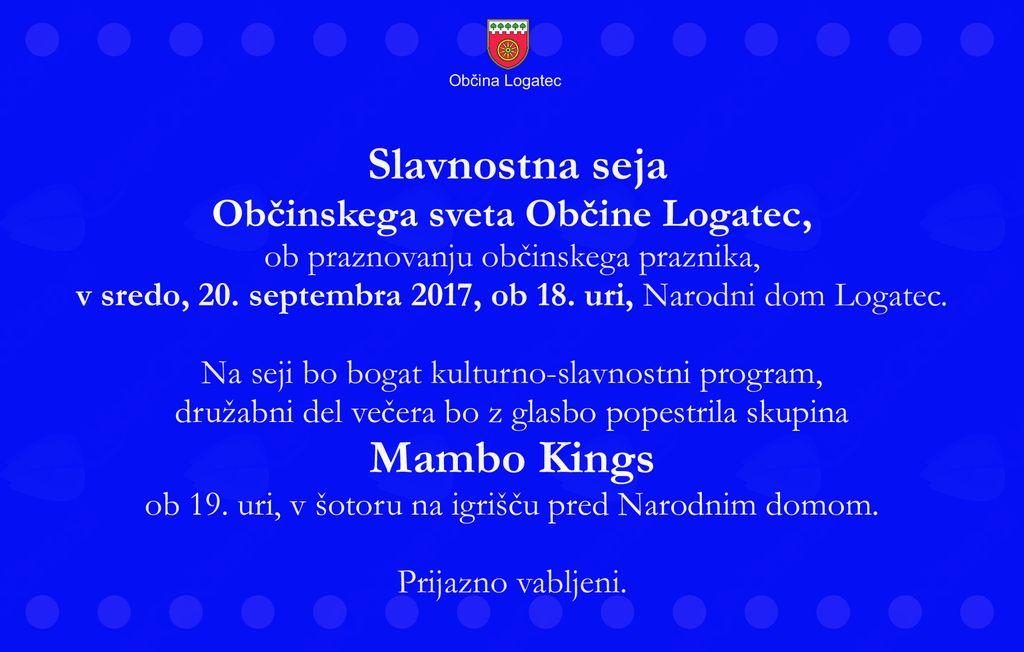 Bogat kulturni program ob Občinskem prazniku občine Logatec ter zabava s skupino Mambo Kings