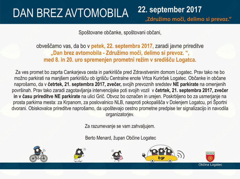 Dan brez avtomobila v Logatcu 2017