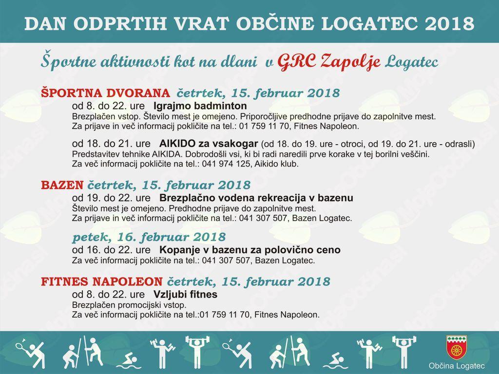 Dan odprtih vrat Občine Logatec 2018 - Športne aktivnosti kot na dlani