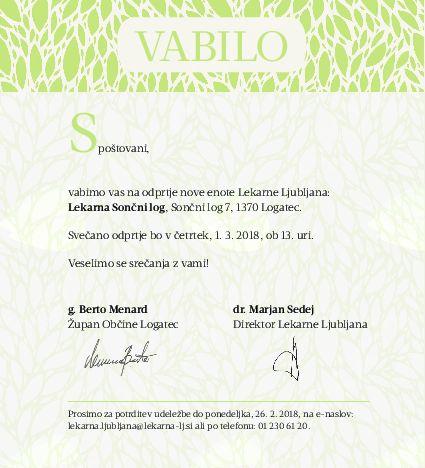 Odprtje nove enote Lekarne Ljubljana - Lekarna Sončni log