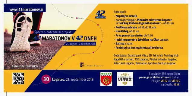 V nedeljo, 23. septembra, 42 maratonov v 42 dneh - športno-dobrodelna prireditev v Logatcu