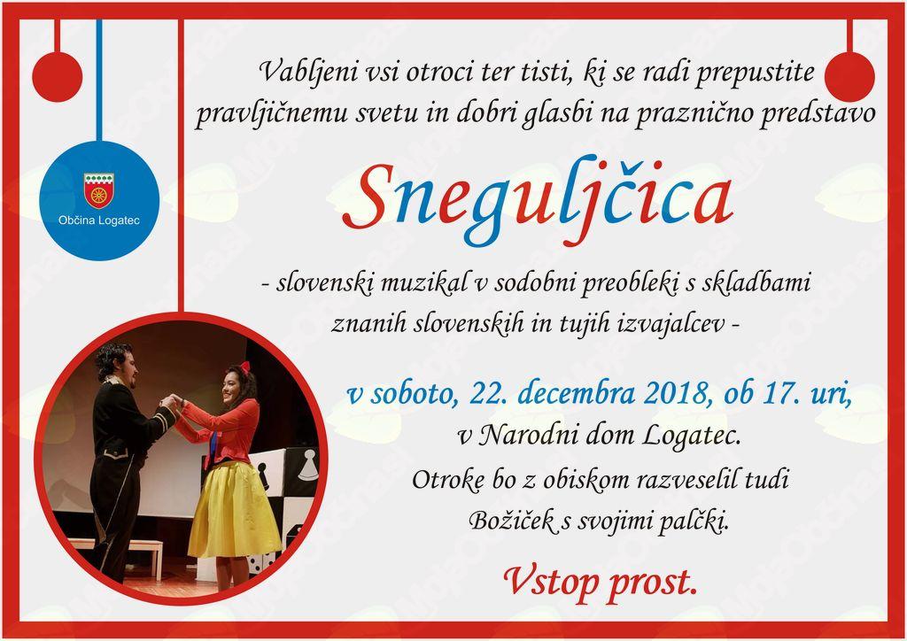 Sneguljčica - praznični muzikal za otroke v Narodnem domu Logatec - VSTOP PROST