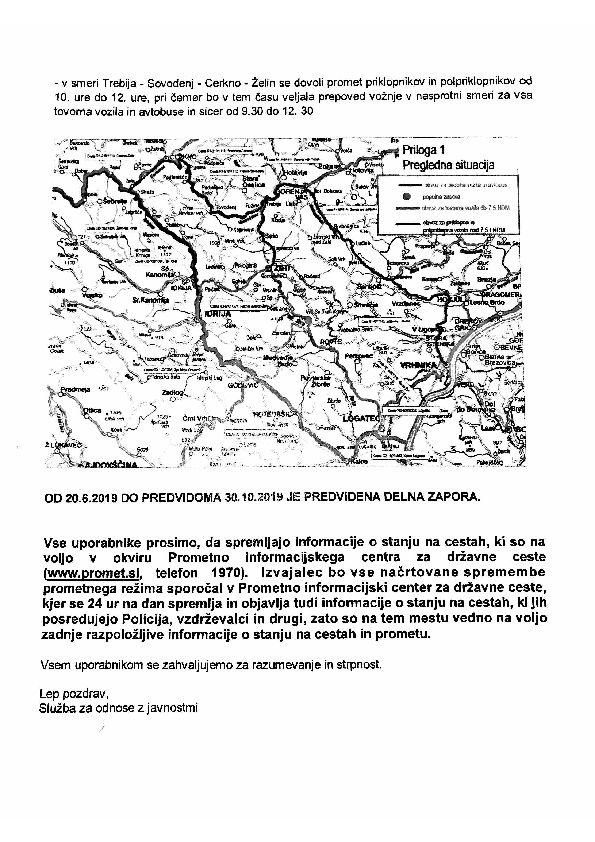 Sanacija brežnin in rekonstrukcija ceste Logatec - Žiri - delna in popolna zapora ceste