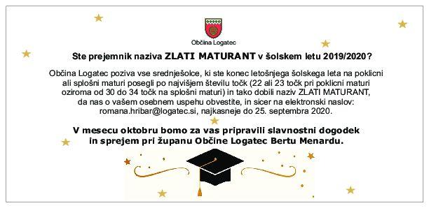 Ste prejemnik naziva Zlati maturant v šolskem letu 2019/2020?