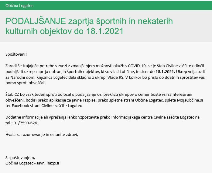 Podaljšanje ukrepa zaprtja javnih športnih in določenih kulturnih objektov v občini Logatec do 18. 1. 2021
