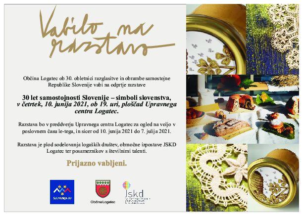 Vabilo na odprtje razstave - 30 let samostojnosti Slovenije - simboli slovenstva