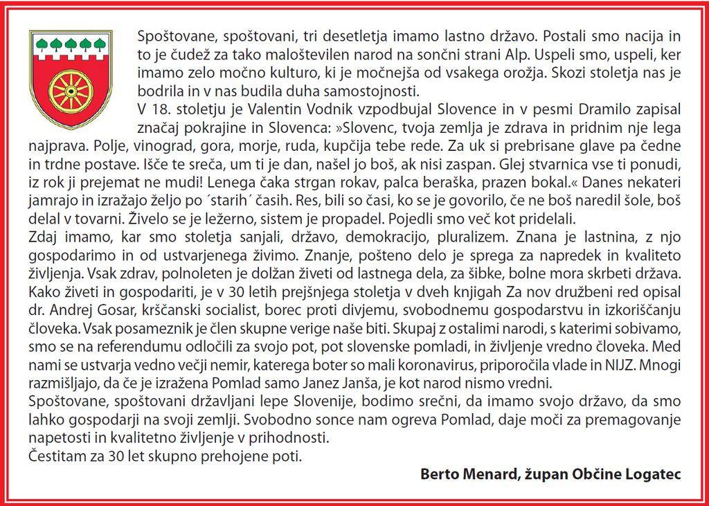 Voščilo ob 30. obletnici samostojnosti Republike Slovenije