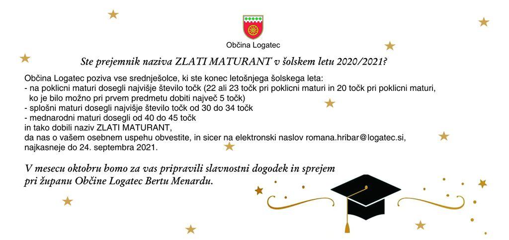 Ste prejemnik naziva ZLATI MATURANT v šolskem letu 2020/2021?