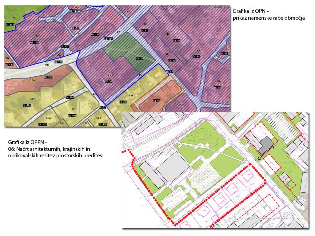 Grafika iz OPN – prikaz namenske rabe območja  in Grafika iz OPPN – 06: Načrt arhitekturnih, krajinskih in oblikovalskih rešitev prostorskih ureditev