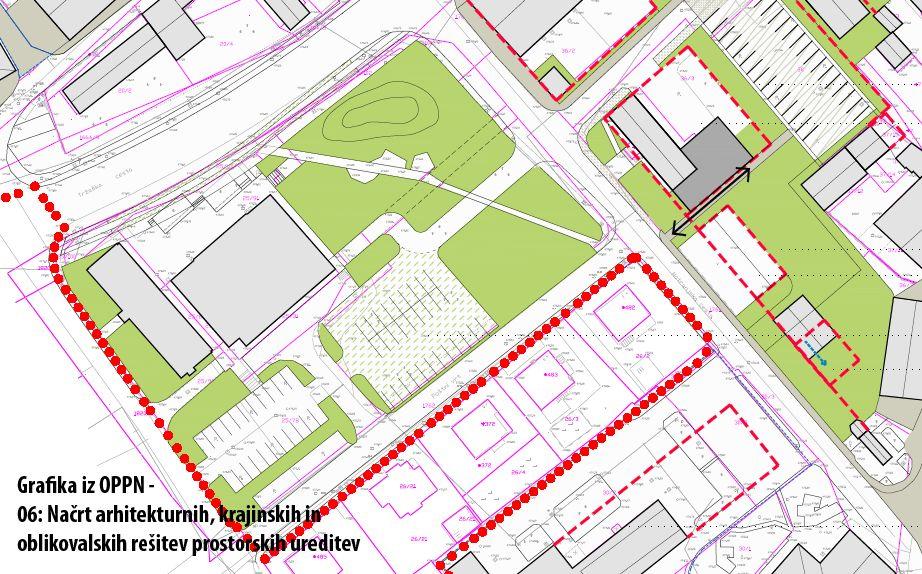 Grafika iz OPPN – 06: Načrt arhitekturnih, krajinskih in oblikovalskih rešitev prostorskih ureditev