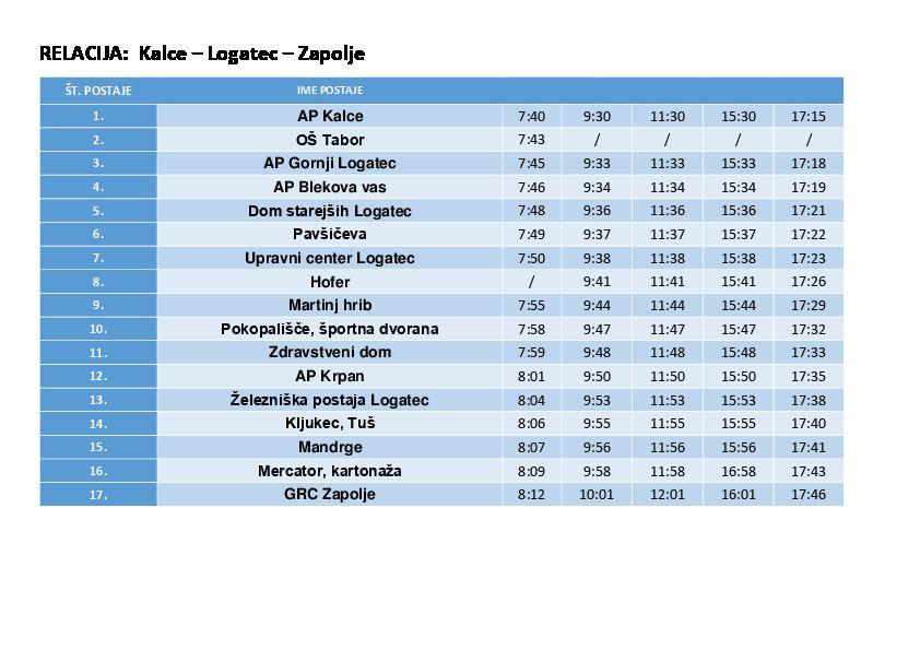 Počitniški vozni red logaškega lokalnega prevoza