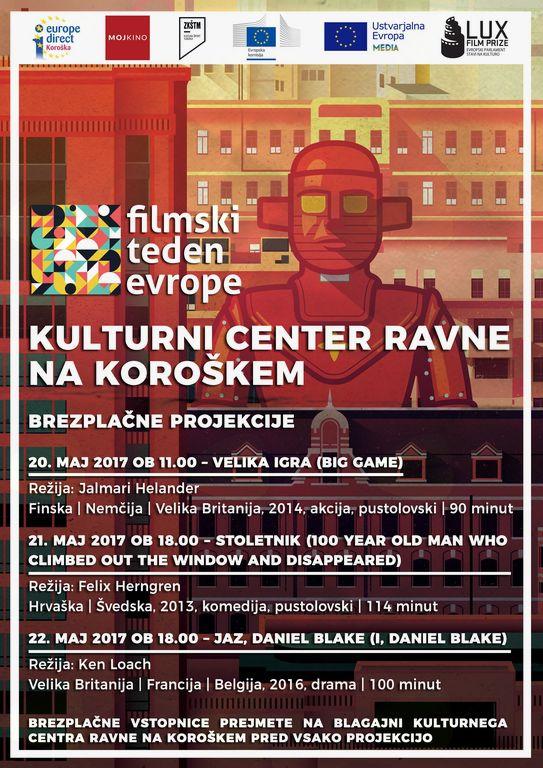 Filmski teden Evrope: Brezplačne projekcije v Kulturnem centru Ravne