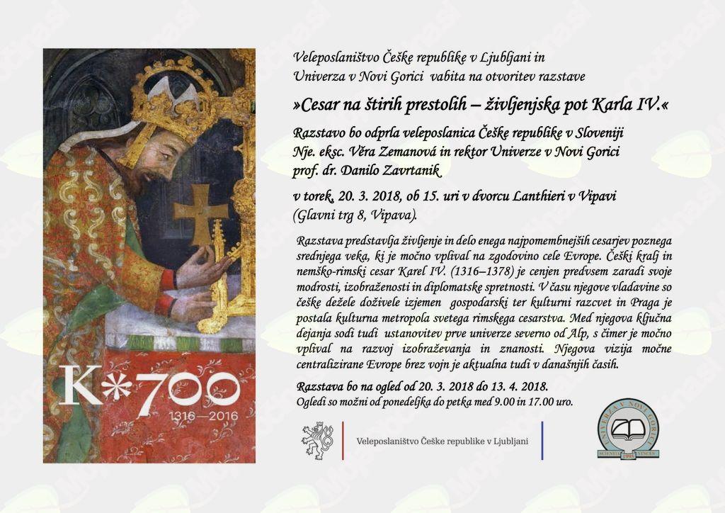"""Razstava """"Cesar na štirih prestolih - življenjska pot Karla IV."""""""