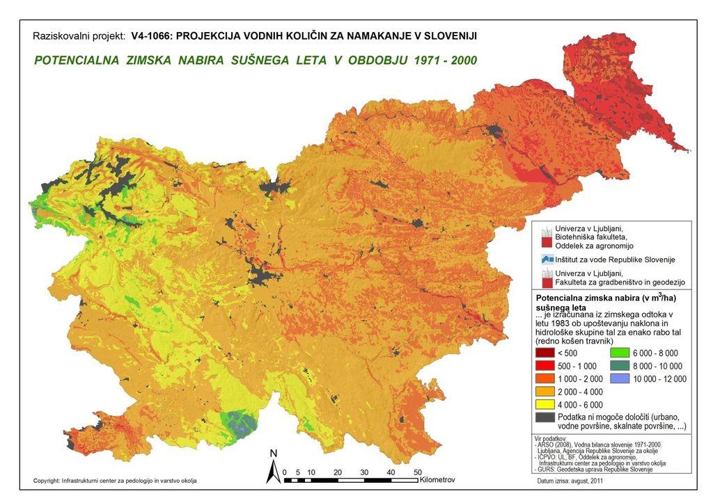 Potencialna zimska nabira vode za sušno leto v obdobju 1971–2000 za potrebe namakanja (Pintar in sod., 2012)