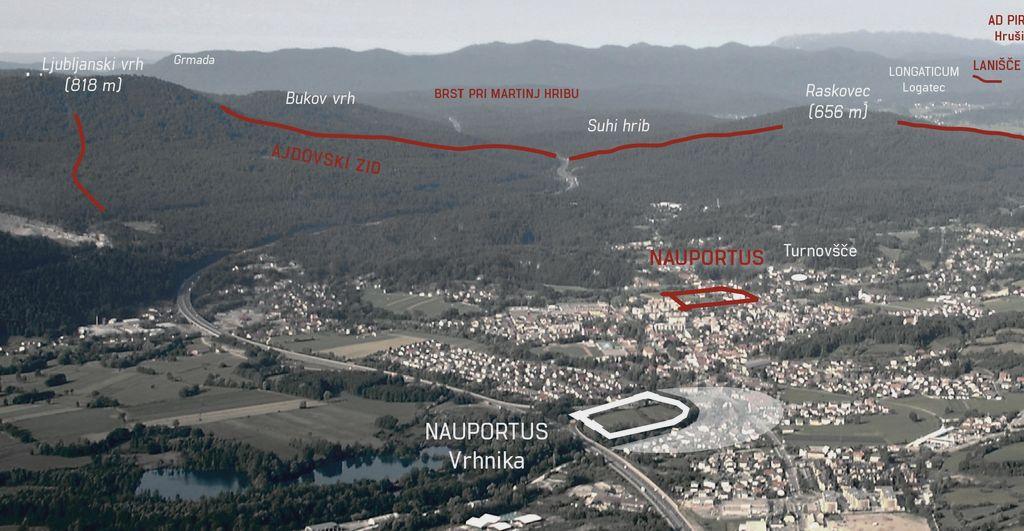 Potek Ajdovskega zidu nad Vrhniko