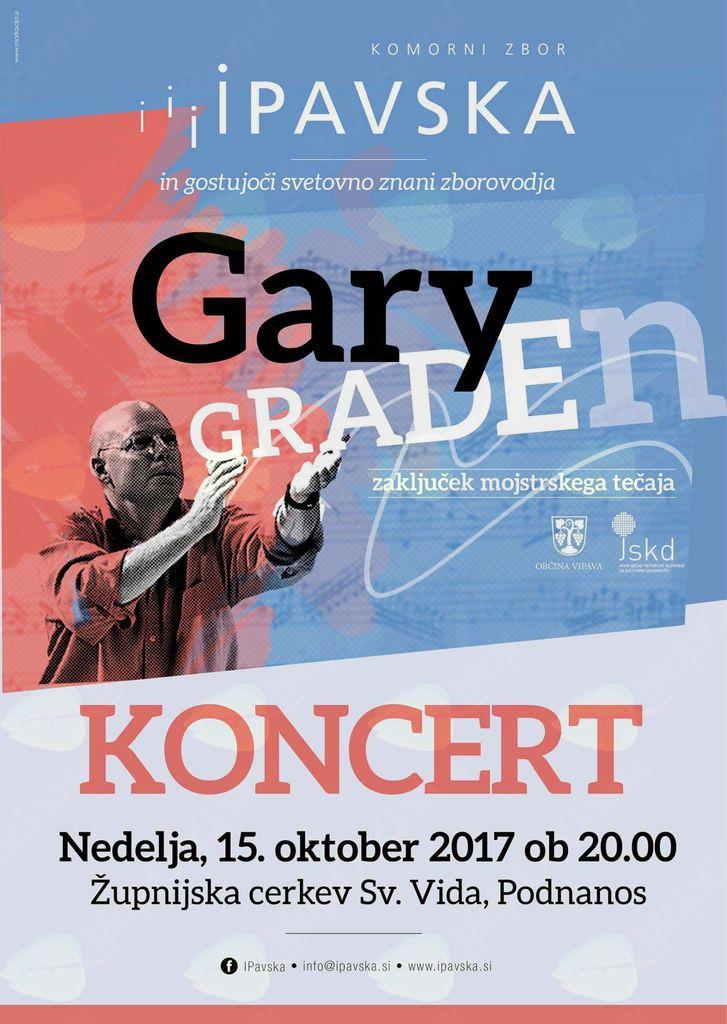 Zaključni koncert Komornega zbora Ipavska z zborovodjo Gary Graden