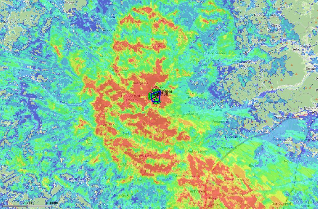 Simulacija jakosti GSM signala.