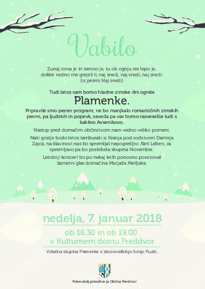 V nedeljo bo v Preddvoru Praznični koncert Plamenk