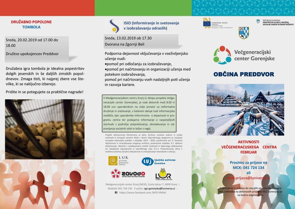 Februarske dejavnosti Večgeneracijskega centra Gorenjske v Preddvoru