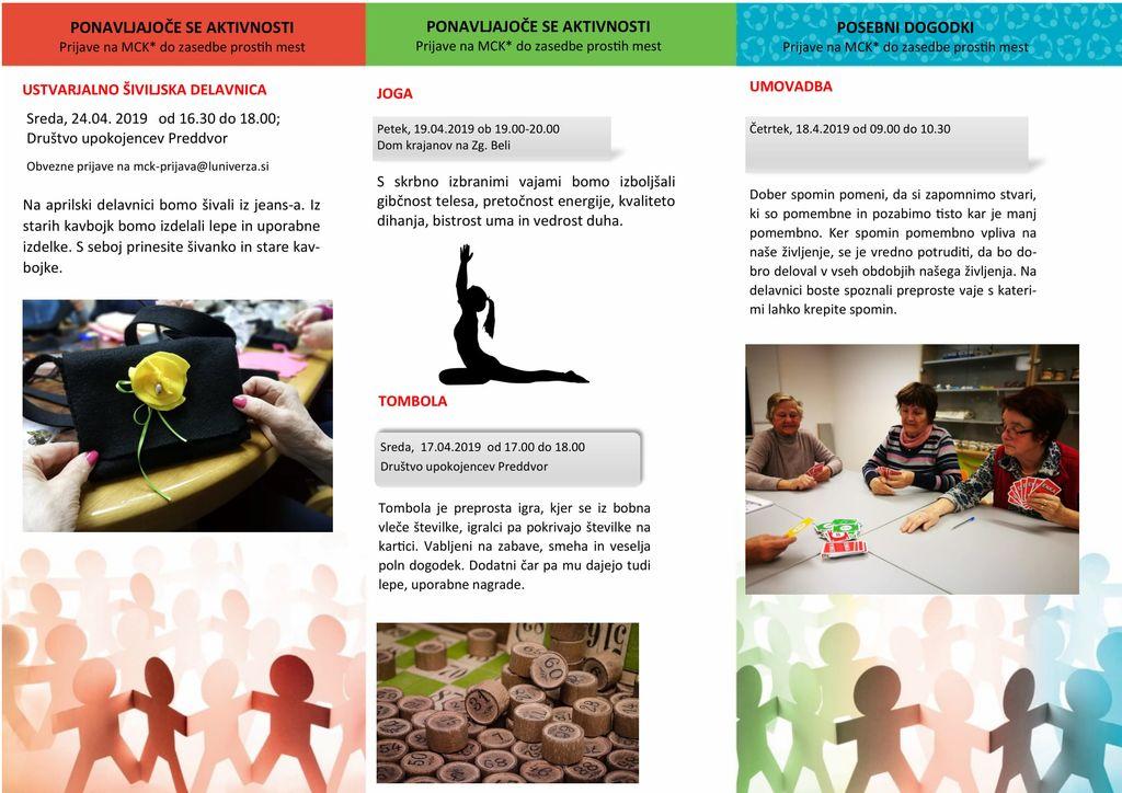 Aktivnosti  večgeneracijskega centra  v Preddvoru - APRIL 2019