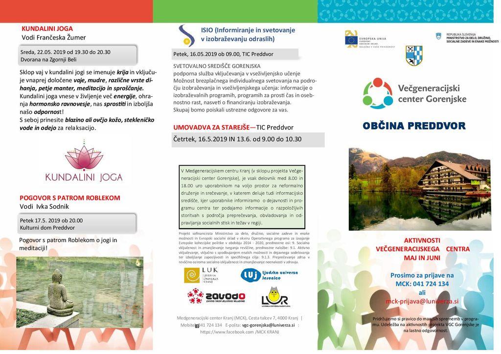 SPREMEMBA programa Aktivnosti Večgeneracijskega centra Gorenjske za maj in junij 2019