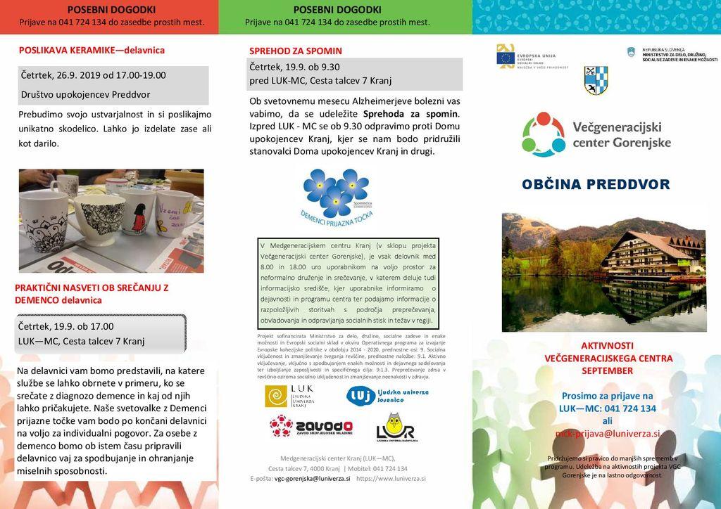 Septembrski program brezplačnih aktivnosti Večgeneracijskega centra Gorenjske za Preddvor