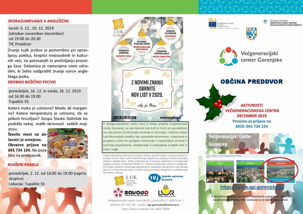 Decembrske dejavnosti Večgeneracijskega centra Gorenjske v Preddvoru