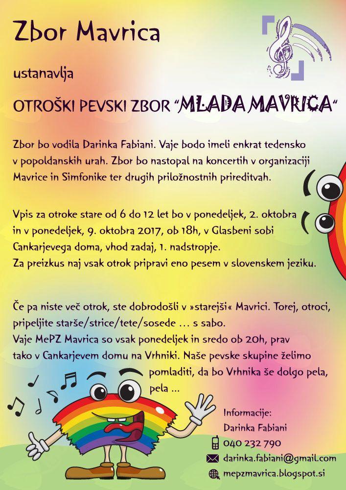 """Vpis v Otroški pevski zbor """"Mlada Mavrica"""""""