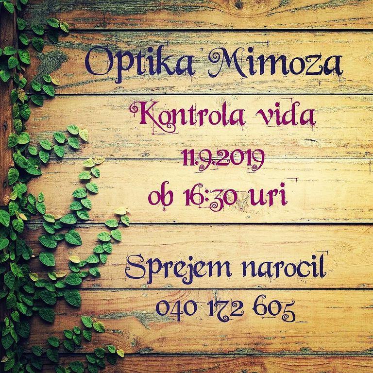 Optika Mimoza, KONTROLA VIDA 11.9.2019, Radenci