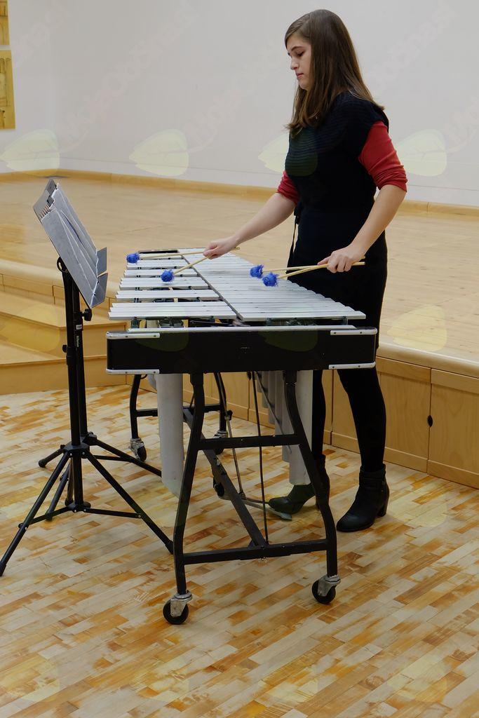 Janja Nagode je z veliko mero občutenosti zaigrala  na vibrafon