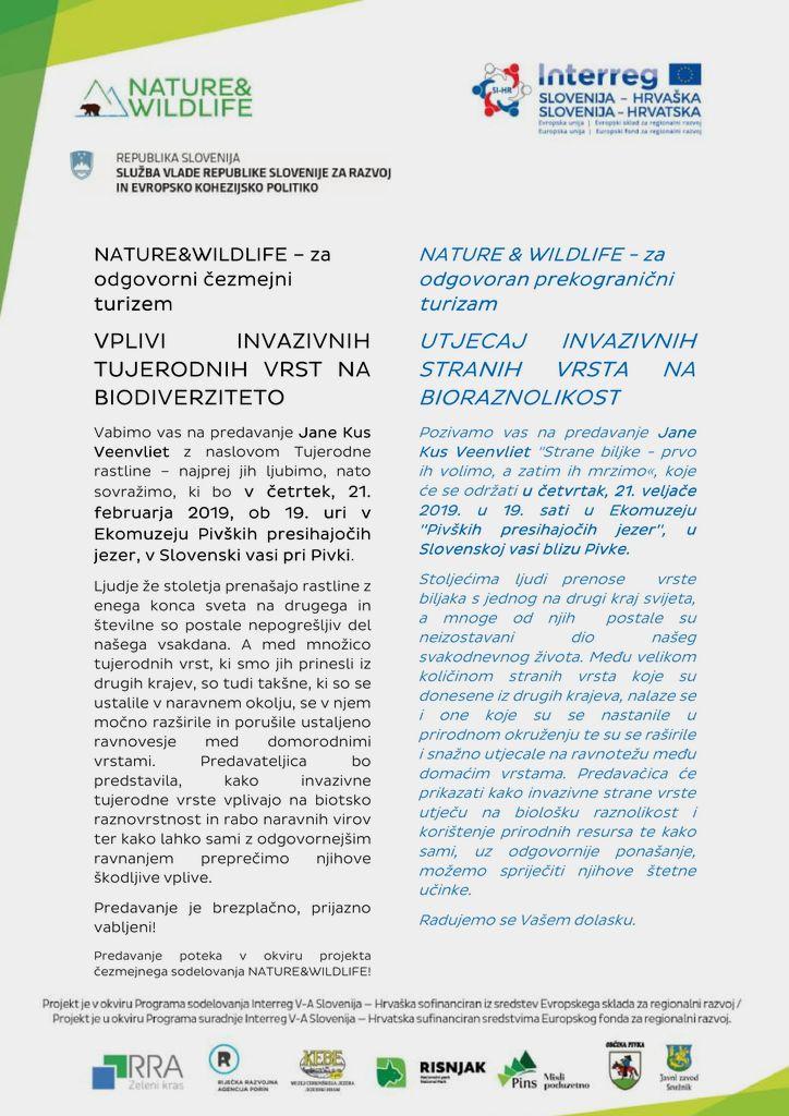 Predavanje: vplivi invazivnih tujerodnih vrst na biodiverziteto