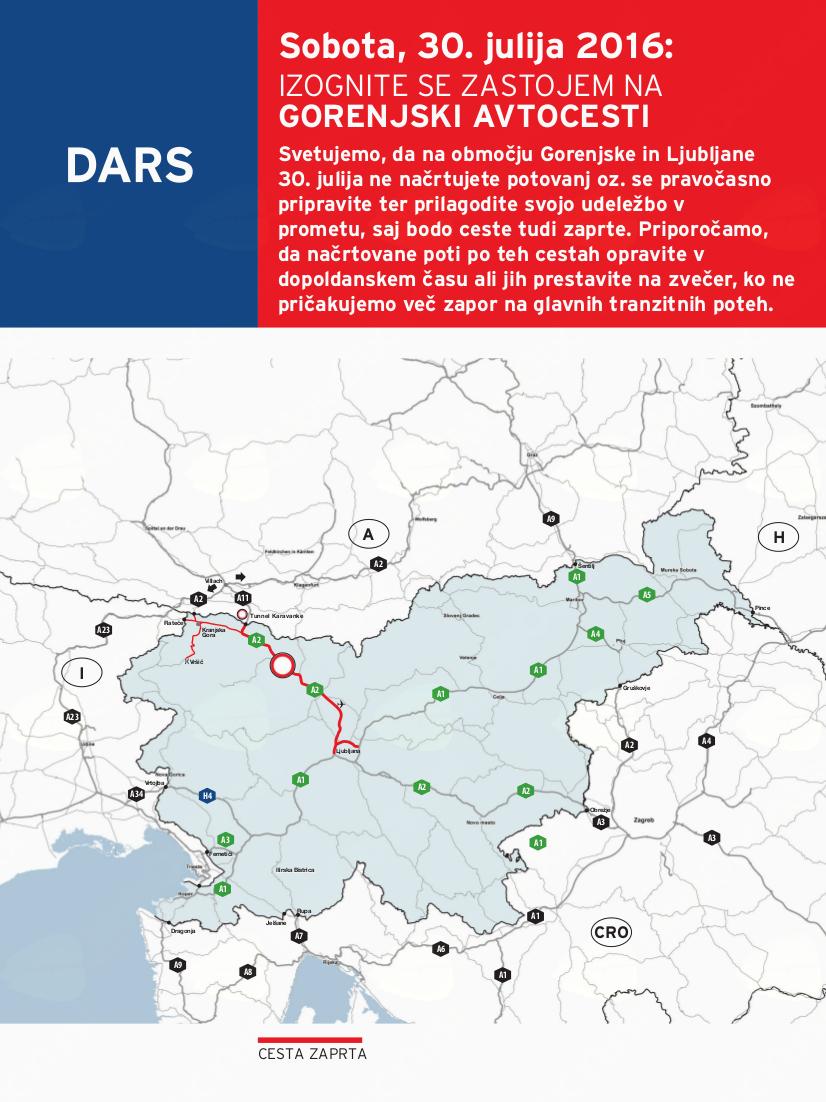 V soboto bo oviran promet na območju Gorenjske in Ljubljane