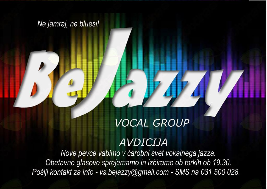 Koncert vokalne skupine BeJazzy 12. decembra ob 20. uri  Mestna knjižnica Ljubljana Bežigrad