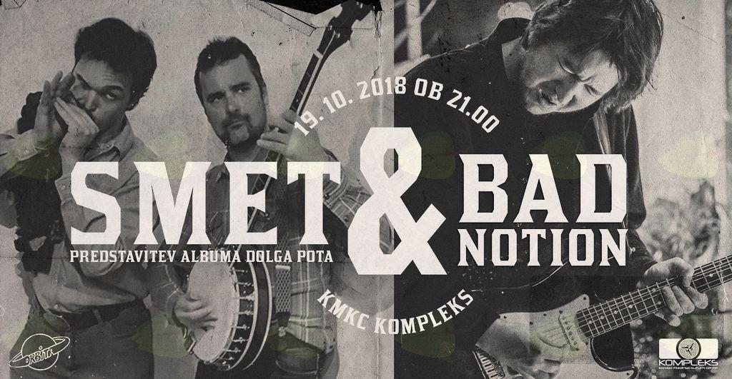 SMET predstavitev CD-ja (Prismojeni Profesorji Blues & Aritmija) & Koncert Bad Notion